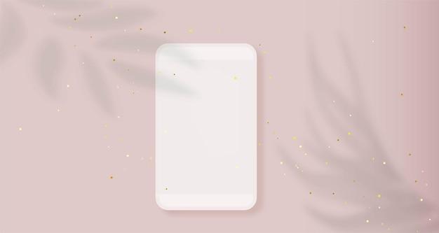 ピンクのスマートフォンのモックアップピンクのモバイルデバイスのコンセプトに葉の熱帯の影と携帯電話のフレーム