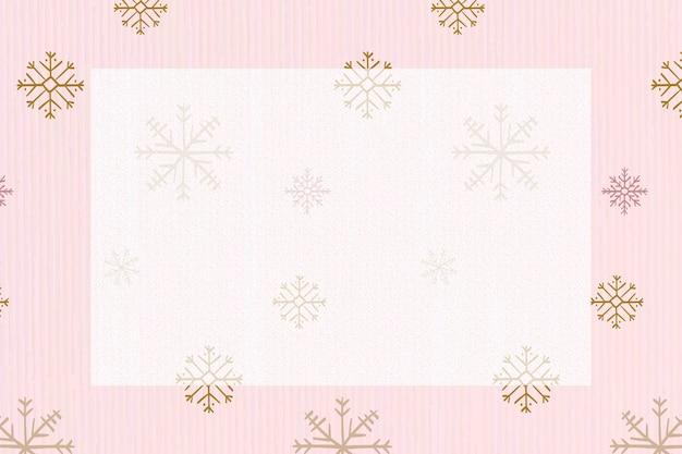 ピンクの雪の結晶フレームの背景、クリスマス冬落書きパターンベクトル