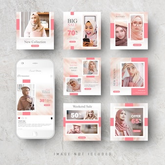 Pink social media instagram feed post banner template bundle