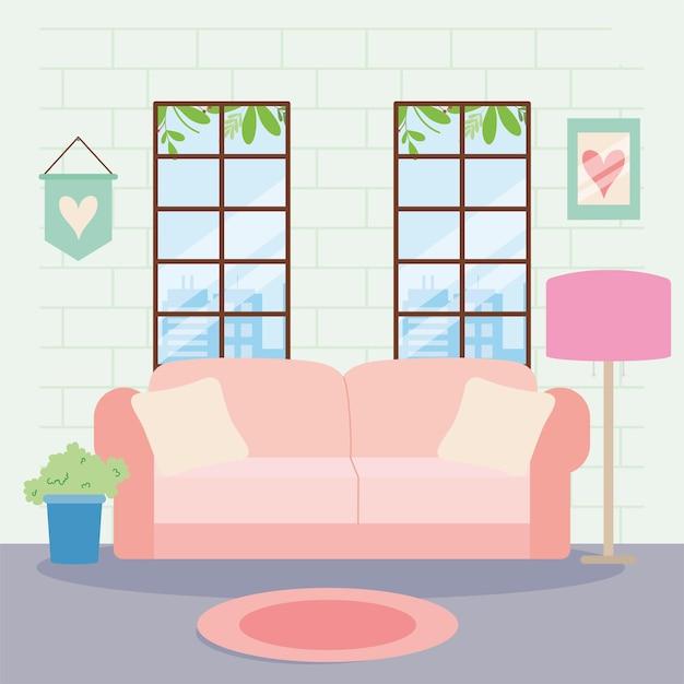 居間のシーンのピンクのソファ