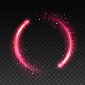 透明な背景にきらびやかな星の光の効果をリアルにピンクの輝きの円