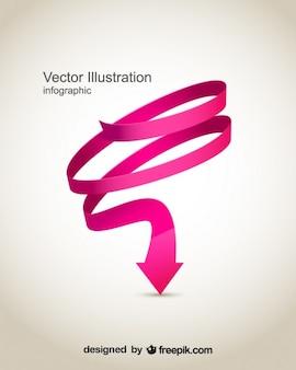 ピンクの渦巻き状の矢印デザイン
