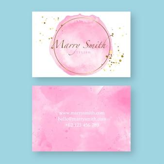 ピンクのスプラッシュ水彩名刺テンプレート