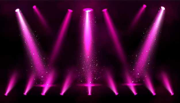 Pink spotlight beams with sparkles