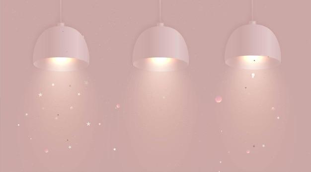 Розовые точечные светильники на стене с подсветкой