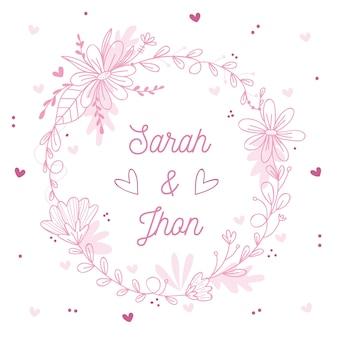 Pink spring floral frame for wedding