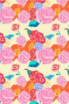 バラのカラフルな背景を持つピンクの春の花柄ベクトル