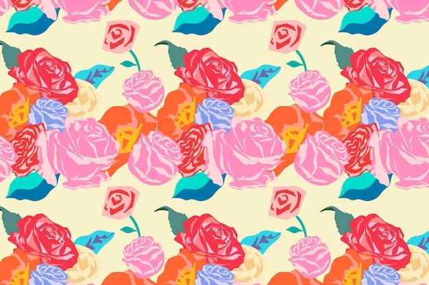 Pink spring floral pattern vector with roses colorful background
