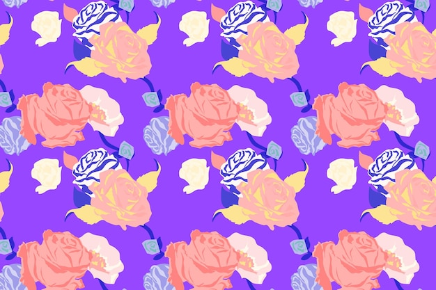 Pink spring floral pattern vector with roses purple background