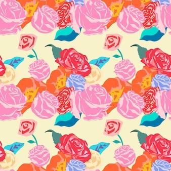 バラのカラフルな背景とピンクの春の花柄