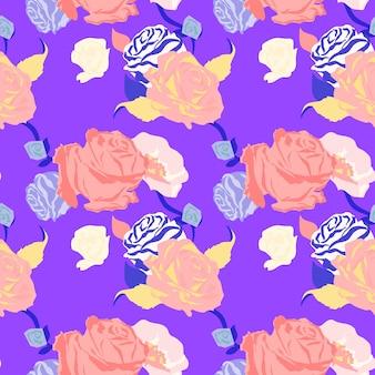 Розовый весенний цветочный узор с розами фиолетовый фон