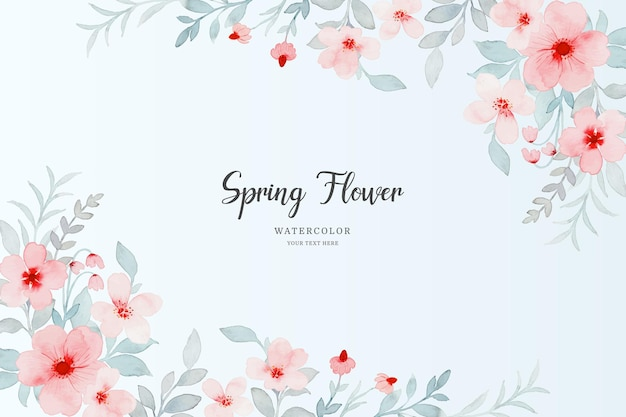 수채화와 핑크 봄 꽃 배경