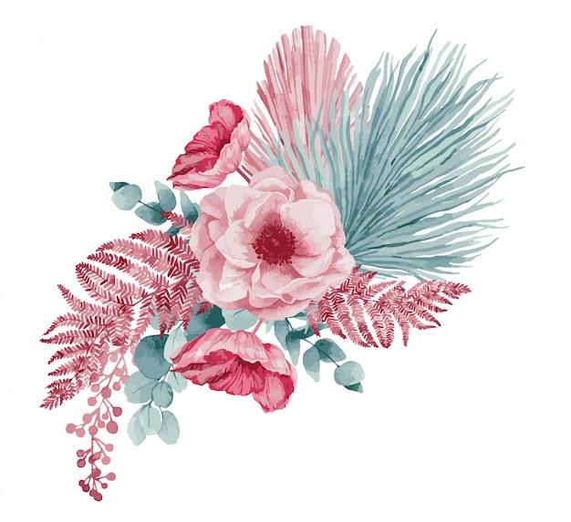 Розовые весенние цветы, иллюстрации.