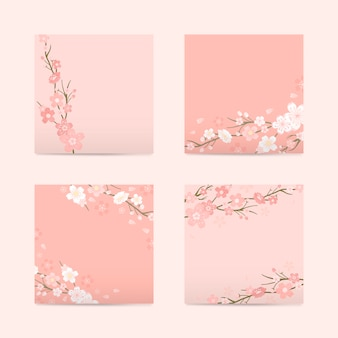 Pink square cherry blossom paper vector