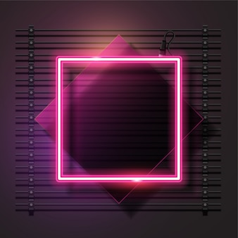 Pink square neon and glass banner vector set.