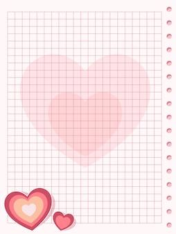 Розовый лист бумаги в квадрате с сердцем