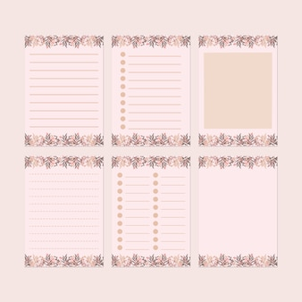 Pink  stationery paper template set
