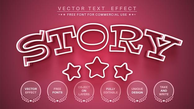 ピンクのストーリー編集テキスト効果編集可能なフォントスタイル Premiumベクター