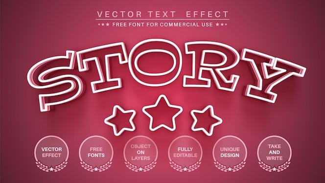 ピンクのストーリー編集テキスト効果編集可能なフォントスタイル