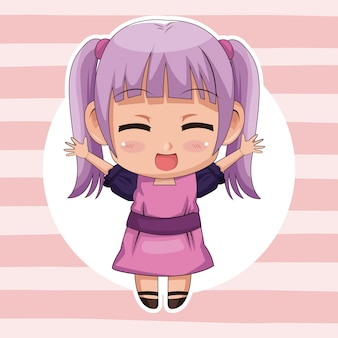 Pink striped background with circular frame and cute anime girl expression happiness