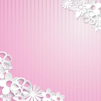 紙から切り取られた白い花とピンクの縞模様の背景