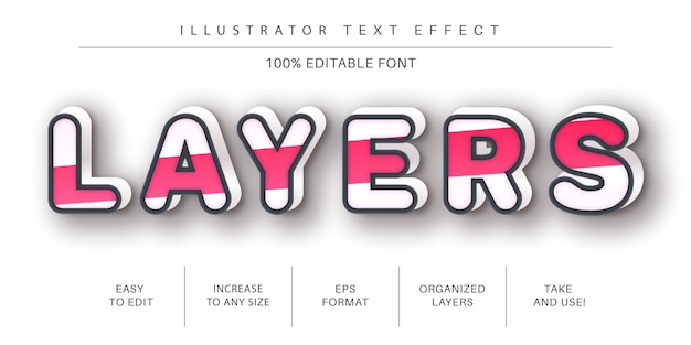 Pink stroke  text effect, font style