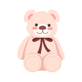 Pink stuffed bear semi flat rgb color vector illustration. fluffy plush toy for children. romantic gift for valentine. birthday present. cute animal doll isolated cartoon object on white background