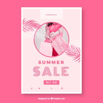 Pink summer sale flyer template with image