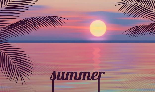Pink summer sunset vector illustrations palm sea