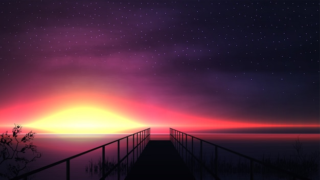 Pink sunset on the lake with a silhouette of a wooden pier and a starry sky