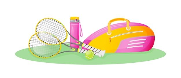 핑크 테니스 장비 평면 개념 그림