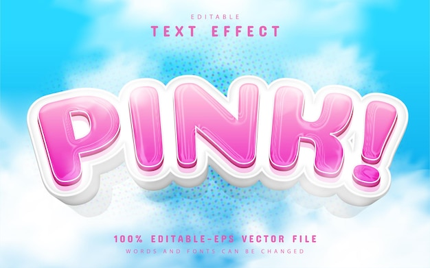 Pink text effect cartoon style