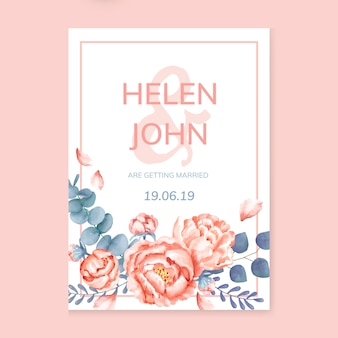 Pink themed floral wedding card