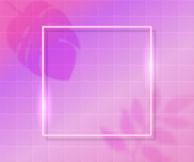 ピンクのタイルの背景と熱帯の葉の影のオーバーレイと光沢のある正方形のフレーム。美容、セールバナー、ソーシャルネットワークのトレンディな背景。現代のベクトルテクスチャ。
