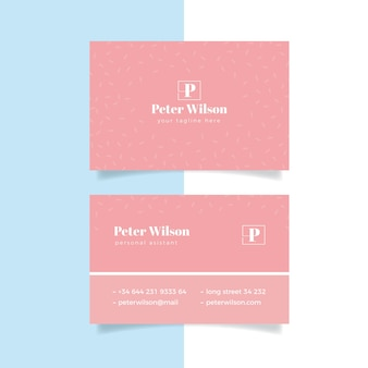 Pink tones of minimal business card template