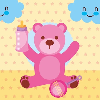Pink toy bear with feeding bottle rattle toy