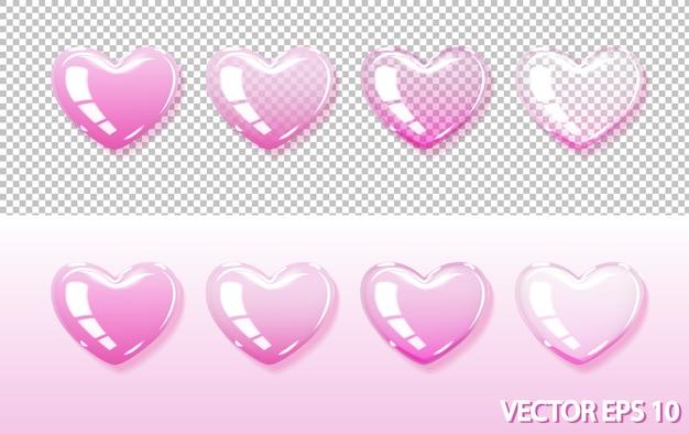 Розовые прозрачные и непрозрачные сердечки