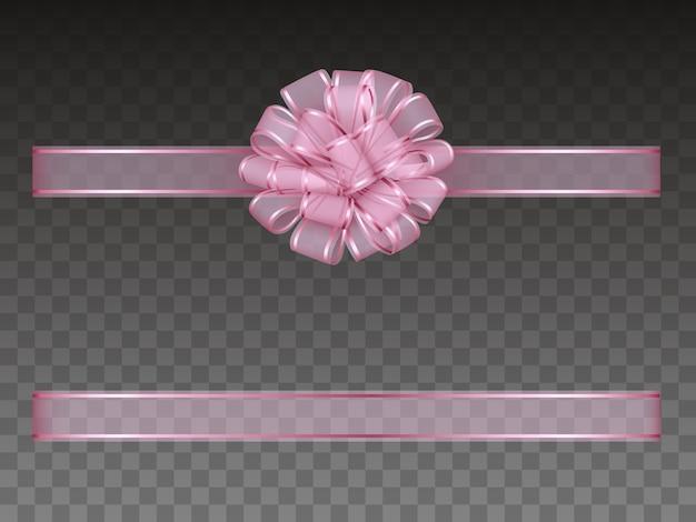 Розовый прозрачный бант и лента