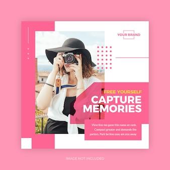 Pink travel tour promotion banner