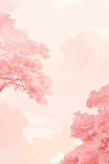 Розовые деревья и небо баннер вектор