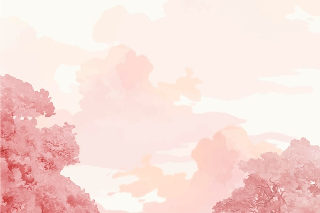 Pink trees and sky banner vector