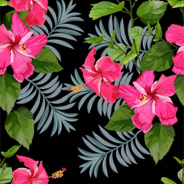 Pink tropical flower seamless pattern