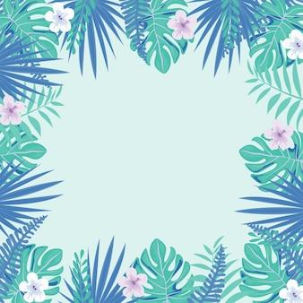 Розовые тропические цветы и листья кадр на светлом фоне. цветочные границы