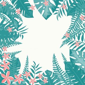 Розовые тропические цветы и листья кадр на светлом фоне. цветочная рамка
