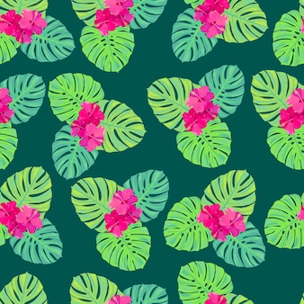 ピンクの熱帯の花とモンステラエキゾチックな楽園の花が明るいとシームレスなパターンを残します