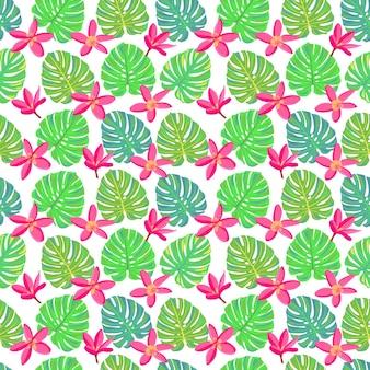 ピンクの熱帯の花とモンステラエキゾチックな楽園の花とのシームレスなパターンを残します