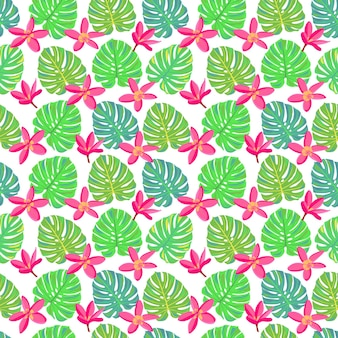 Pink tropical flowers and leaves seamless pattern with monstera exotic paradise flowers