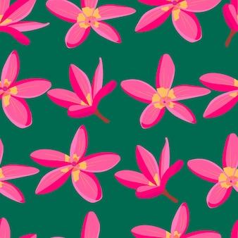 濃い緑色の背景にピンクの熱帯の花シームレスパターンエキゾチックな楽園の花明るい