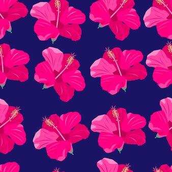 ピンクの熱帯の花のシームレスなパターンエキゾチックな楽園の花明るい株式ベクトルイラスト