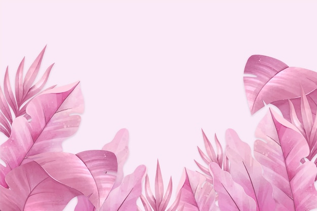 Pink tropical leaves background